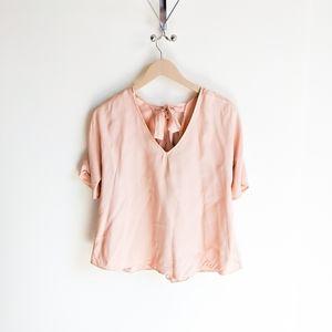 Massimo Dutti Tie Back Blush Short Sleeve Blouse